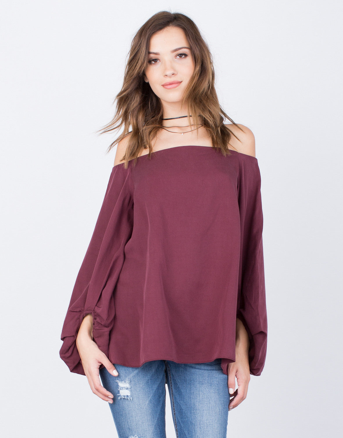 Front View of Soft Off-the-Shoulder Top