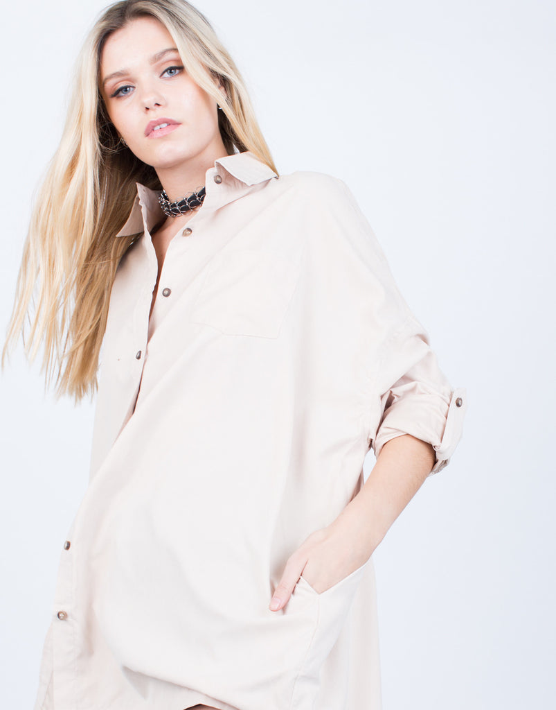 Soft Oversized Button Up Blouse - 2020AVE