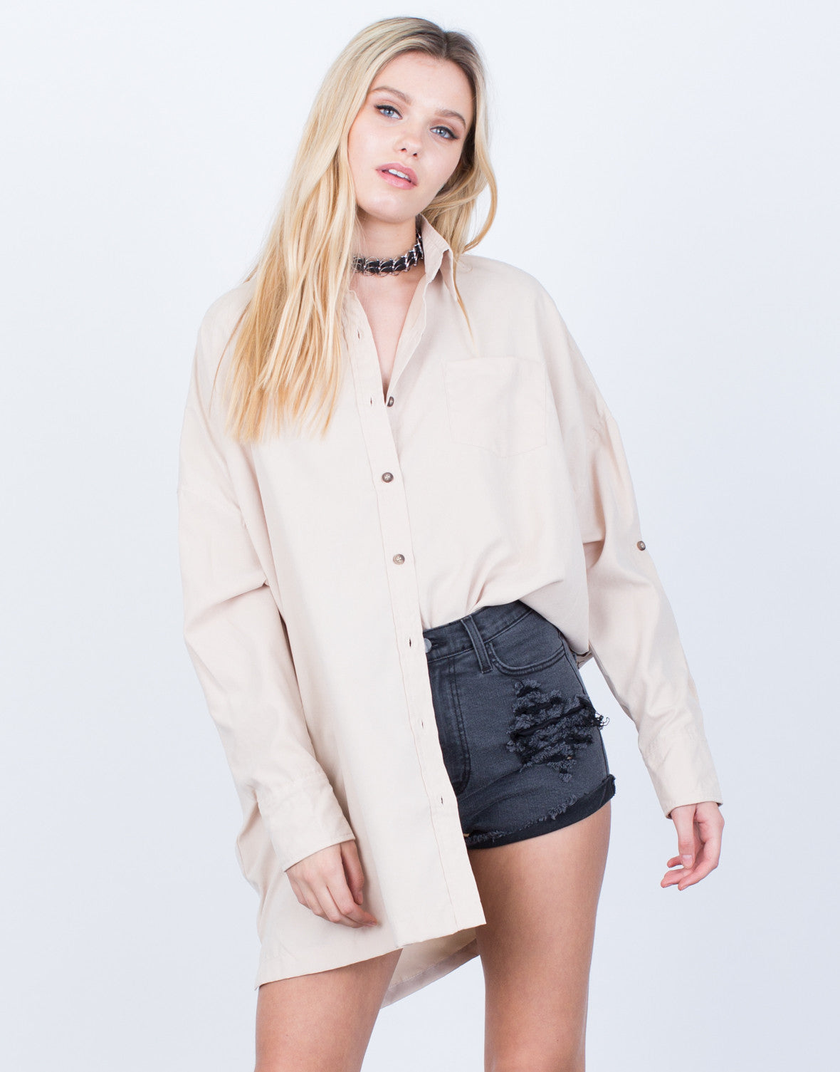 2241c53fd20b ... Soft Oversized Button Up Blouse - 2020AVE ...
