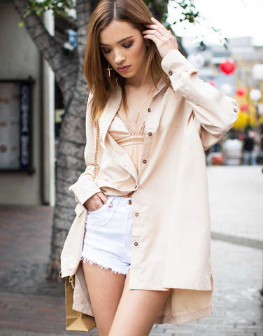 Soft Oversized Button Up Blouse
