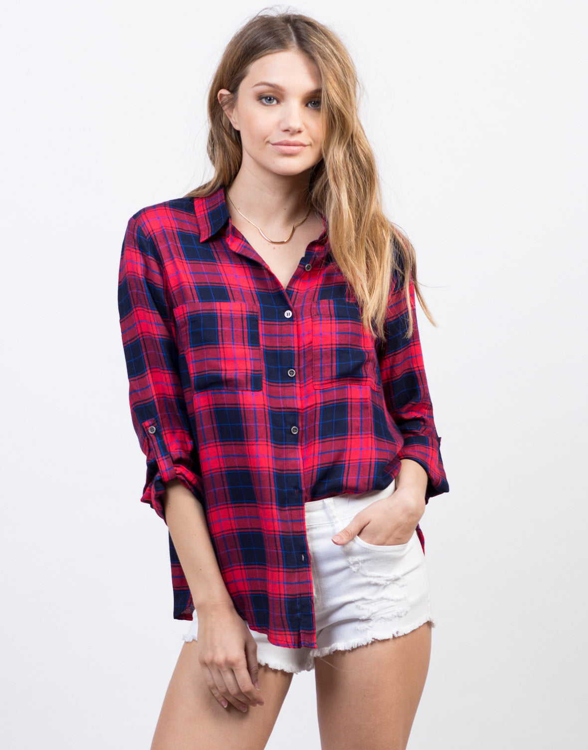 Front View of Soft Plaid Shirt