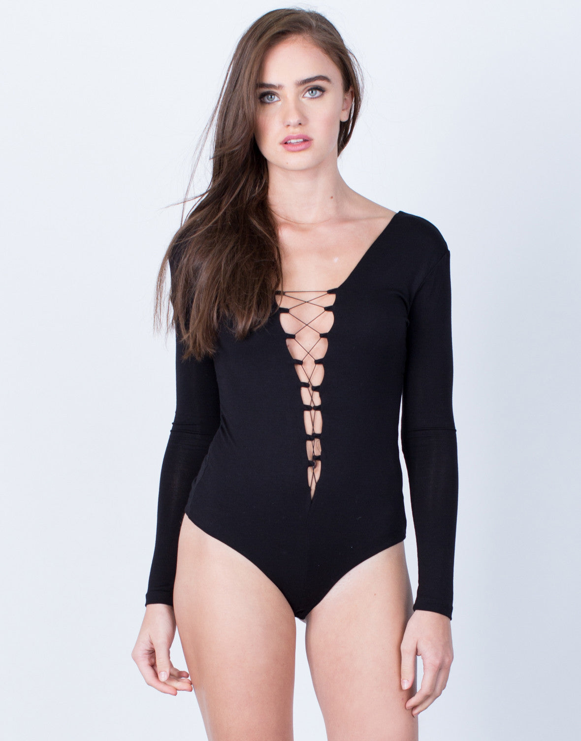 Front View of Soft Plunging Lace-Up Bodysuit