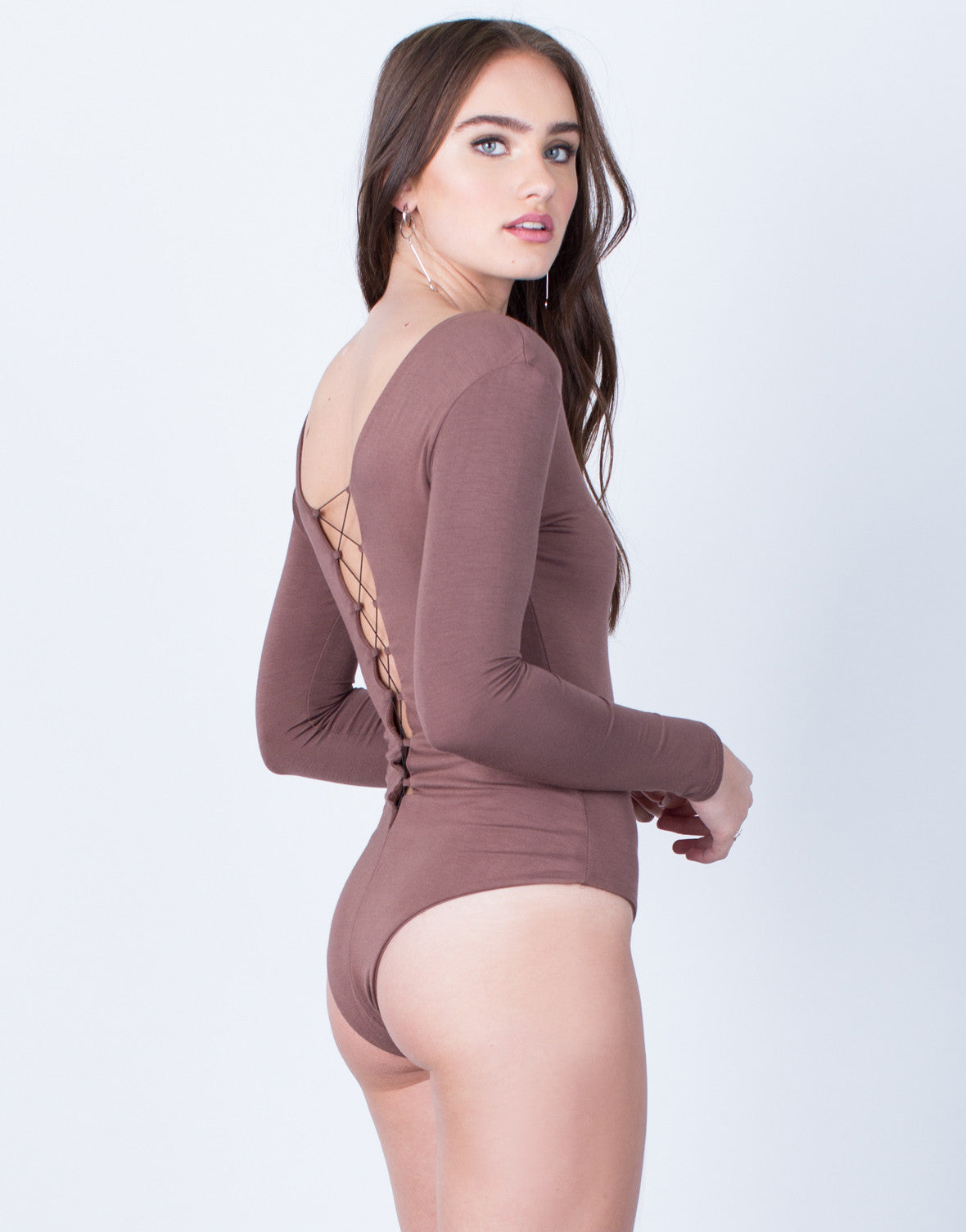 Back View of Soft Plunging Lace-Up Bodysuit