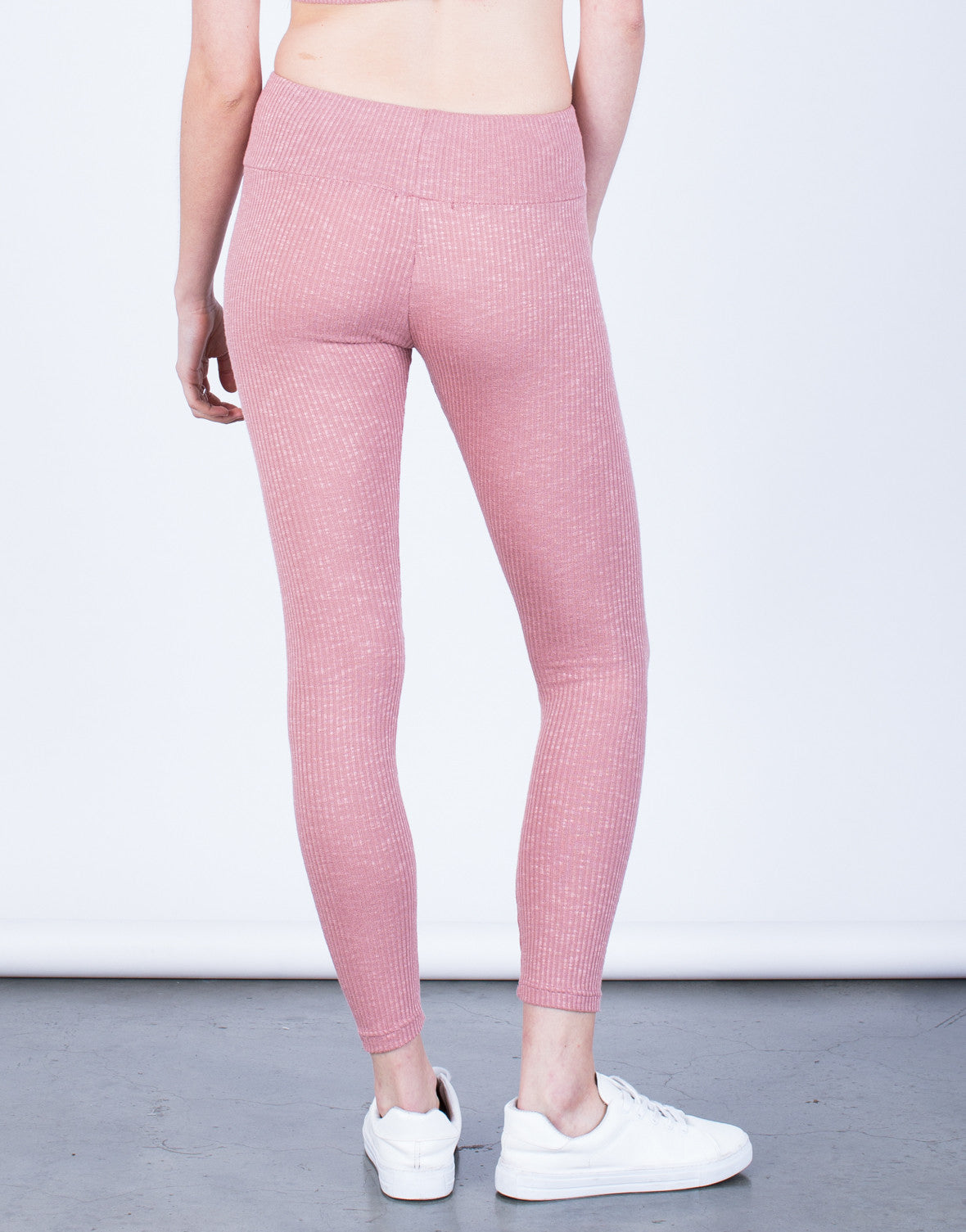 Back View of Soft Rib Knit Leggings