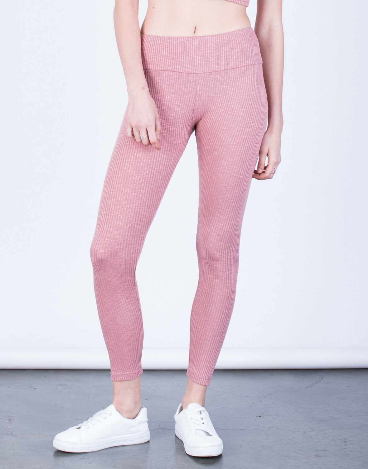 Front View of Soft Rib Knit Leggings