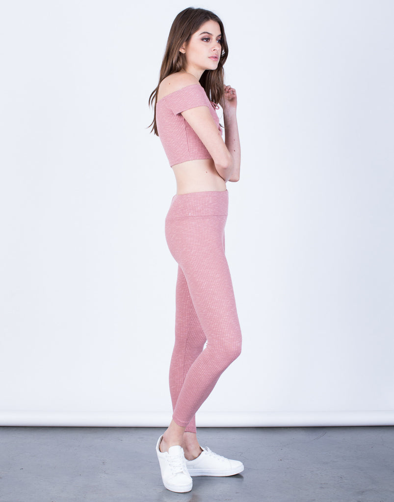 Side View of Soft Rib Knit Leggings
