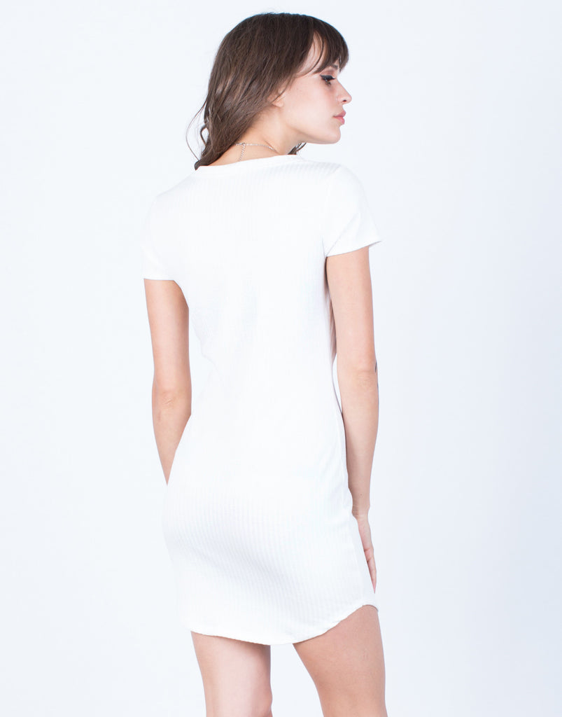 Back View of Soft Ribbed Knit Dress