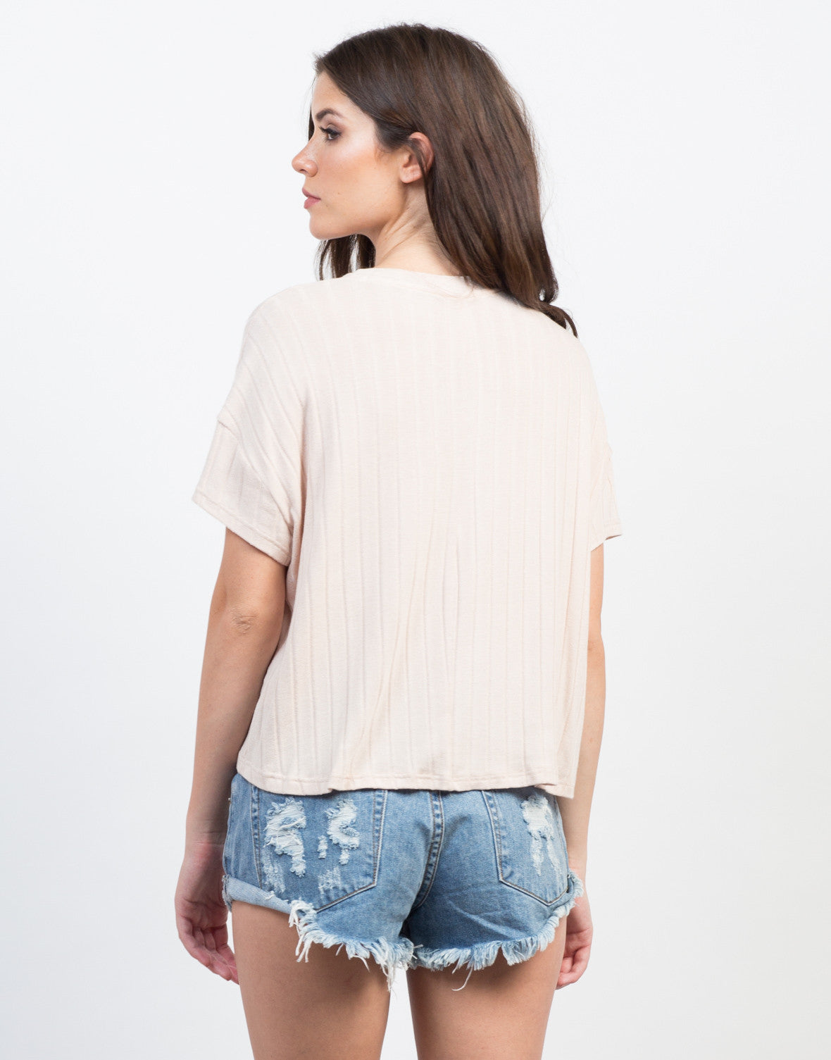 Back View of Soft Ribbed Tee