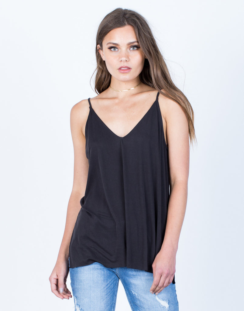 Front View of Soft Side Slit Cami