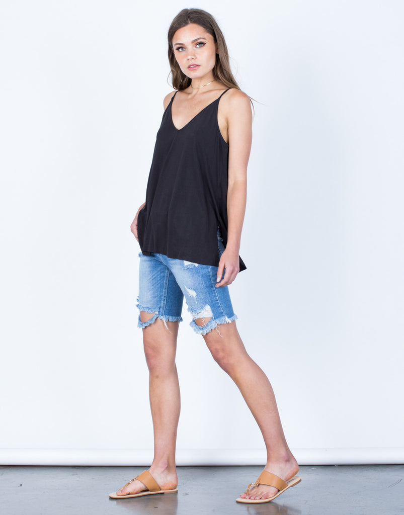 Side View of Soft Side Slit Cami