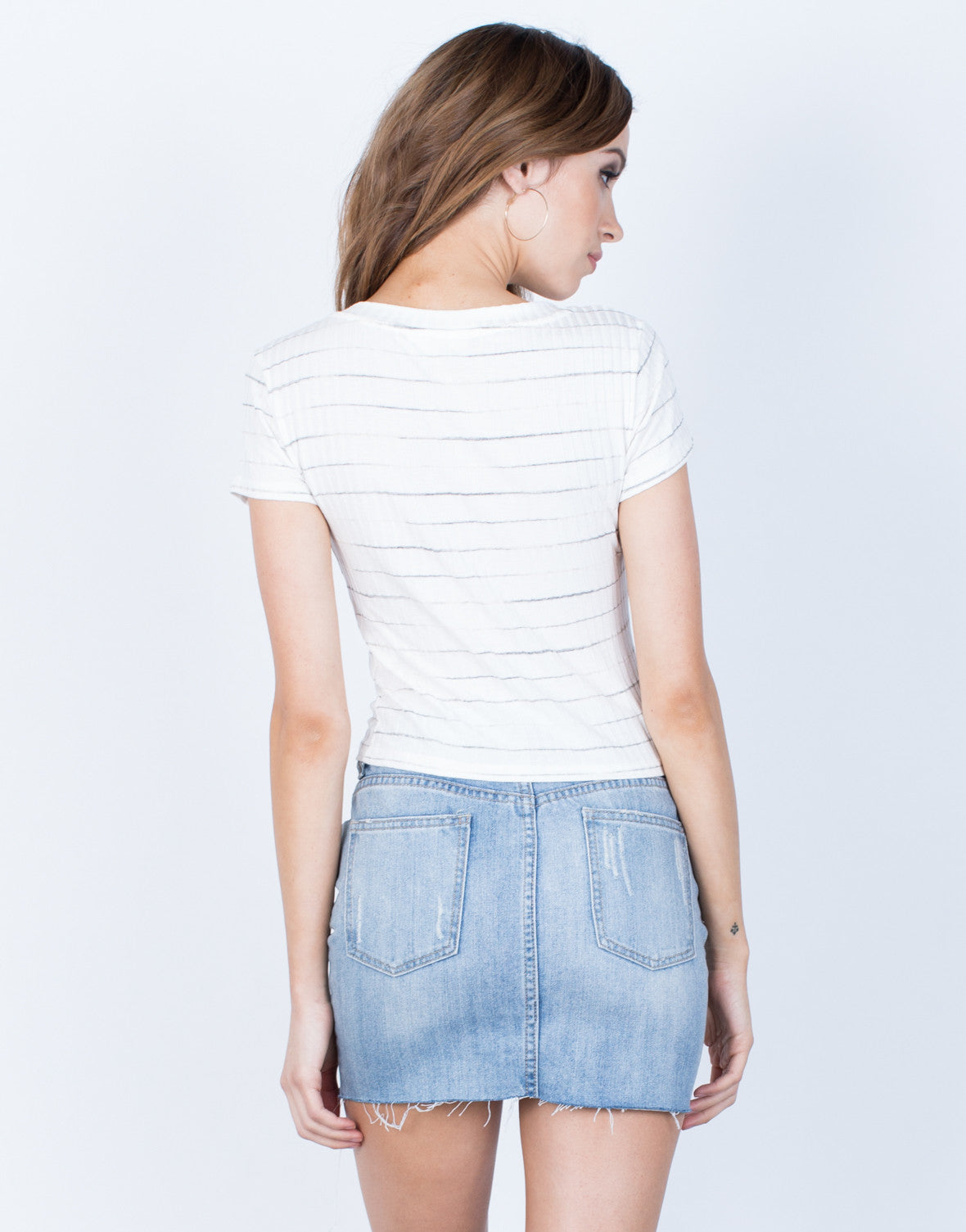 Back View of Soft Striped Tee