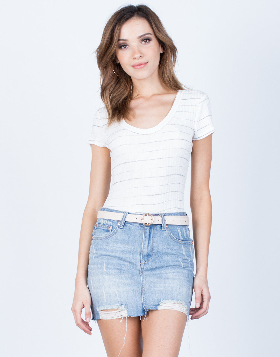 Front View of Soft Striped Tee