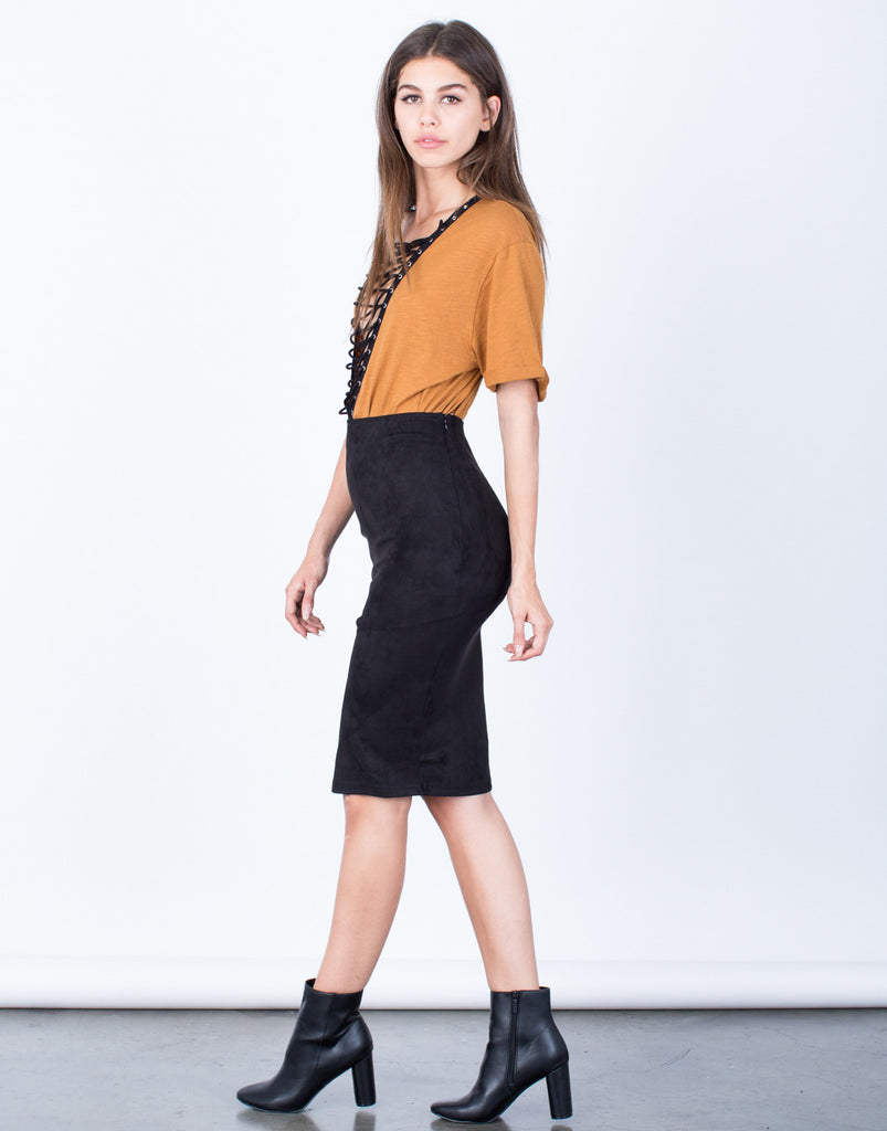 Side View of Soft Suede Pencil Skirt