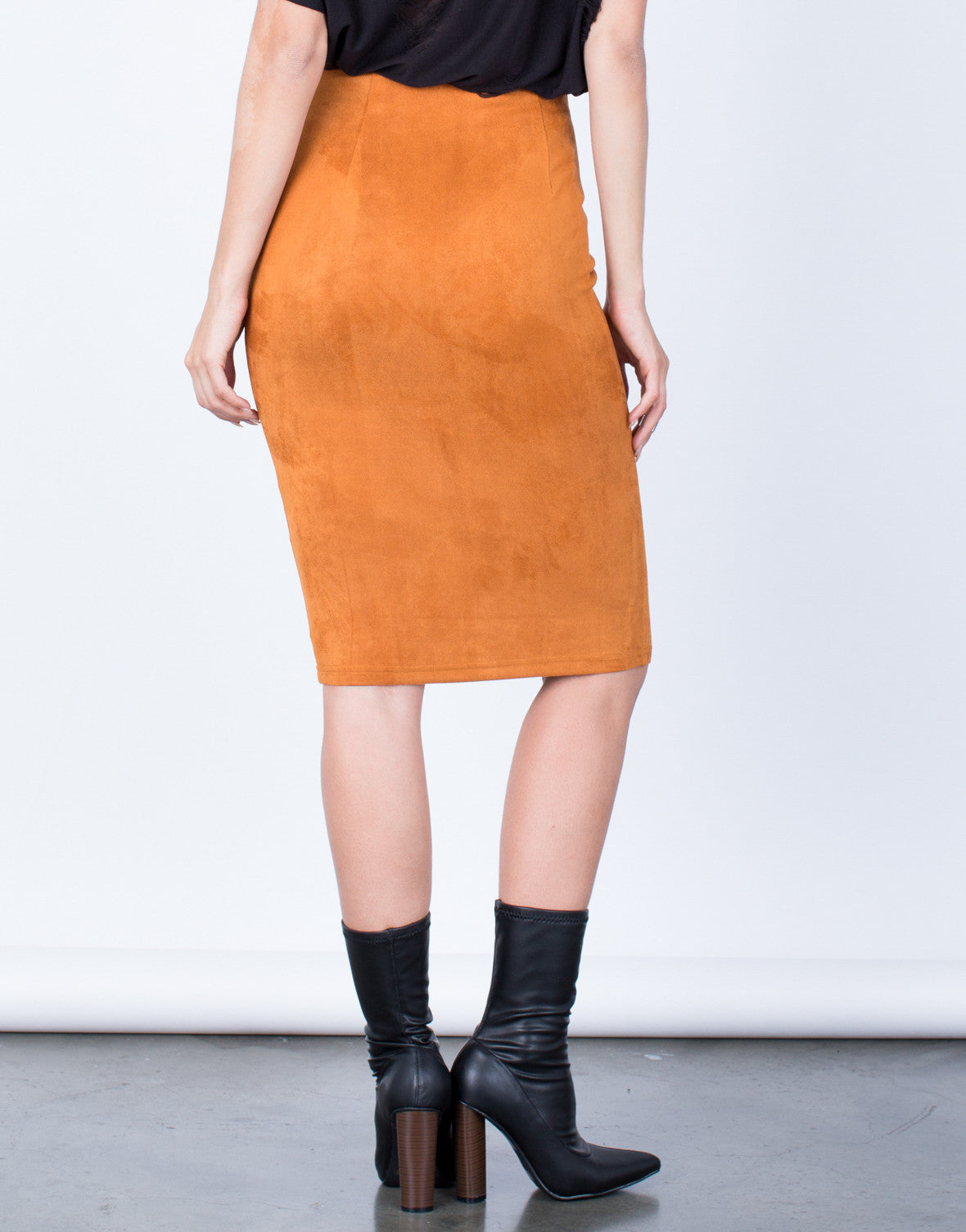 Back View of Soft Suede Pencil Skirt