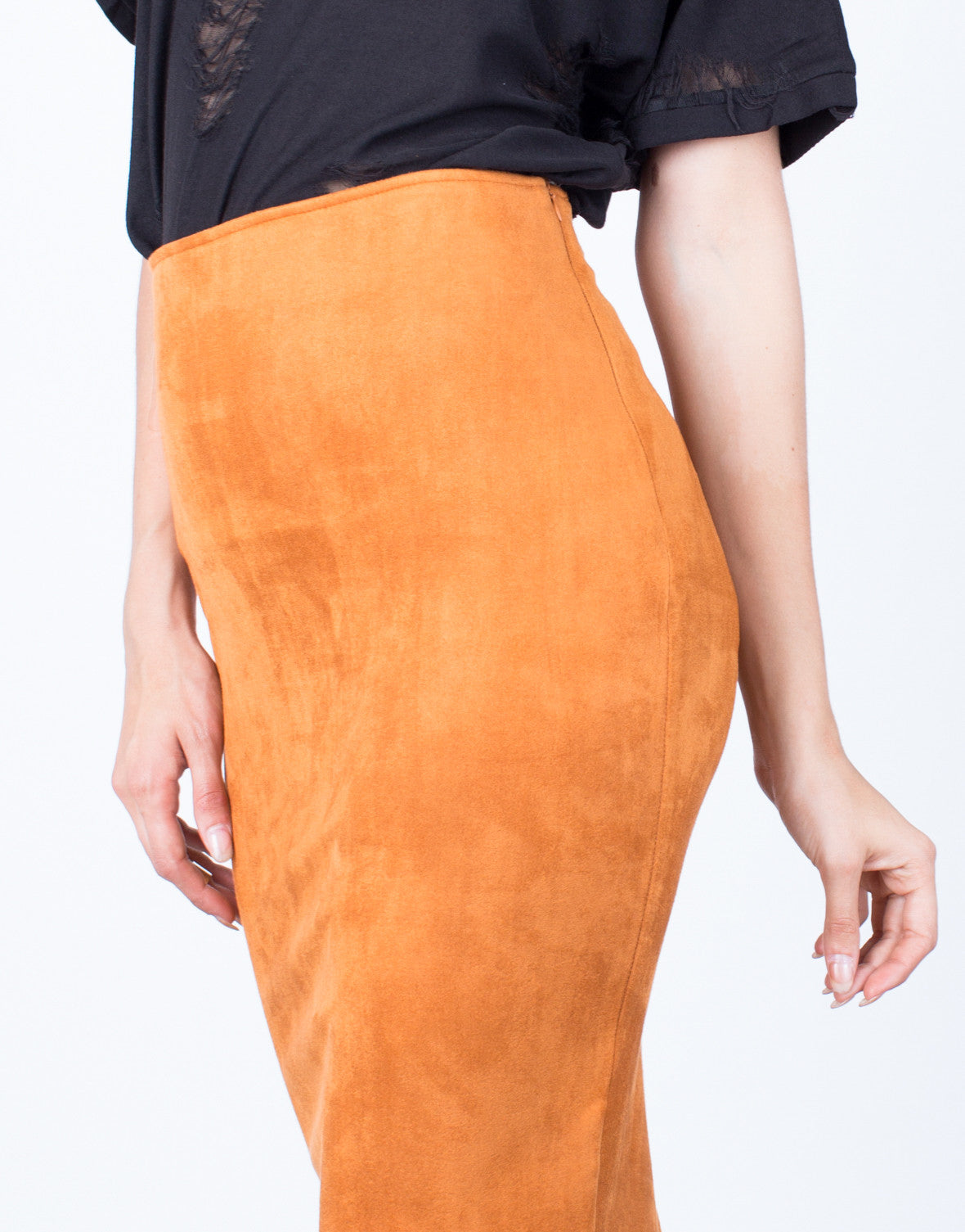Detail of Soft Suede Pencil Skirt