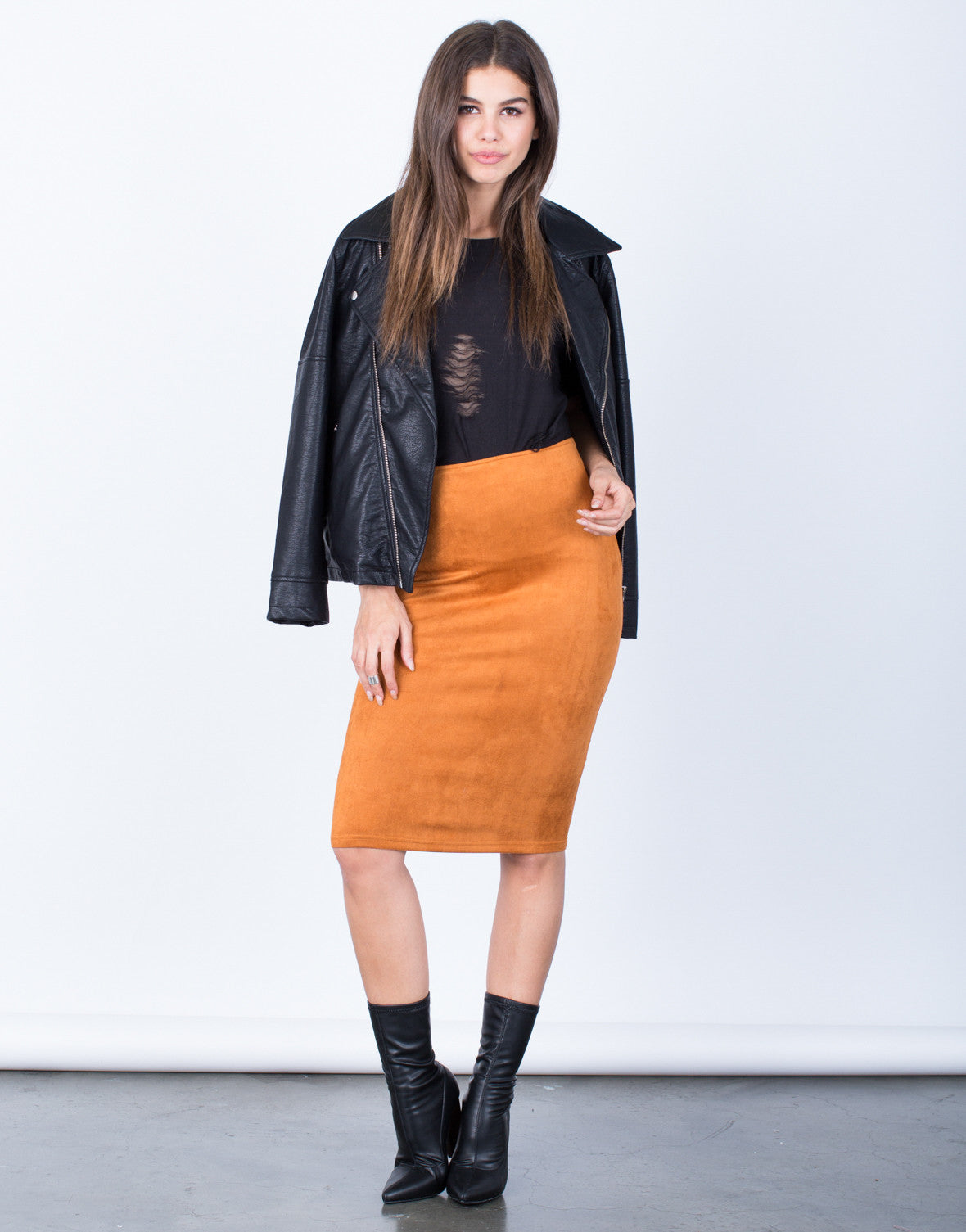 Front View of Soft Suede Pencil Skirt
