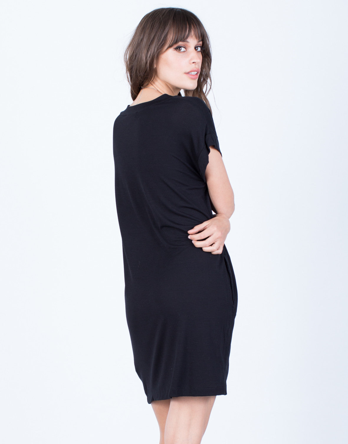 Back View of Soft T-Shirt Dress