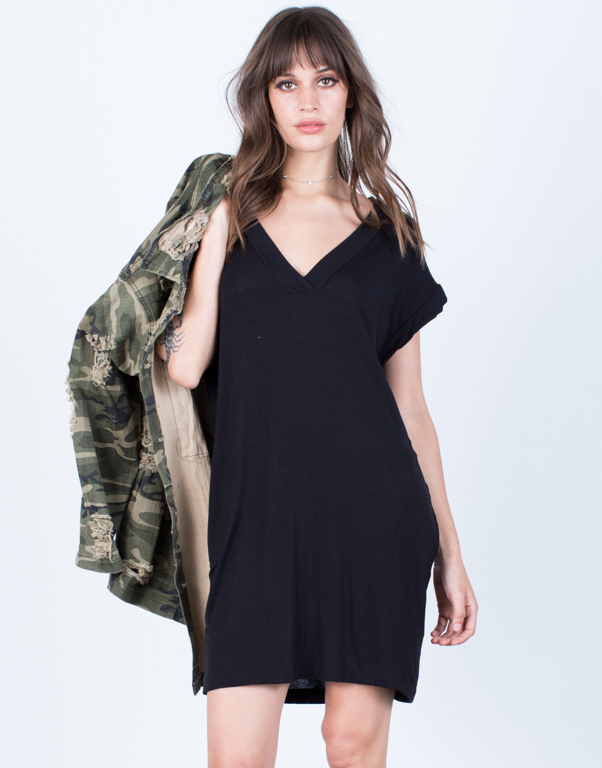 Front View of Soft T-Shirt Dress
