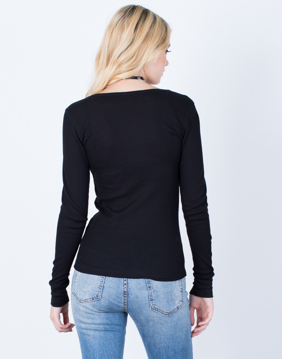 Back View of Soft Waffle Knit Top