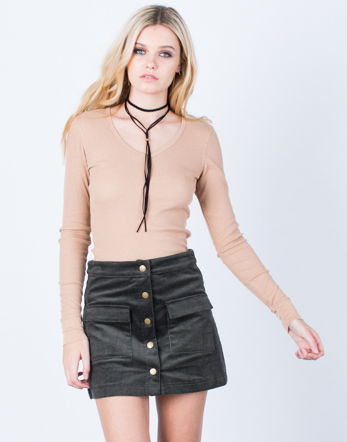 Front View of Soft Waffle Knit Top