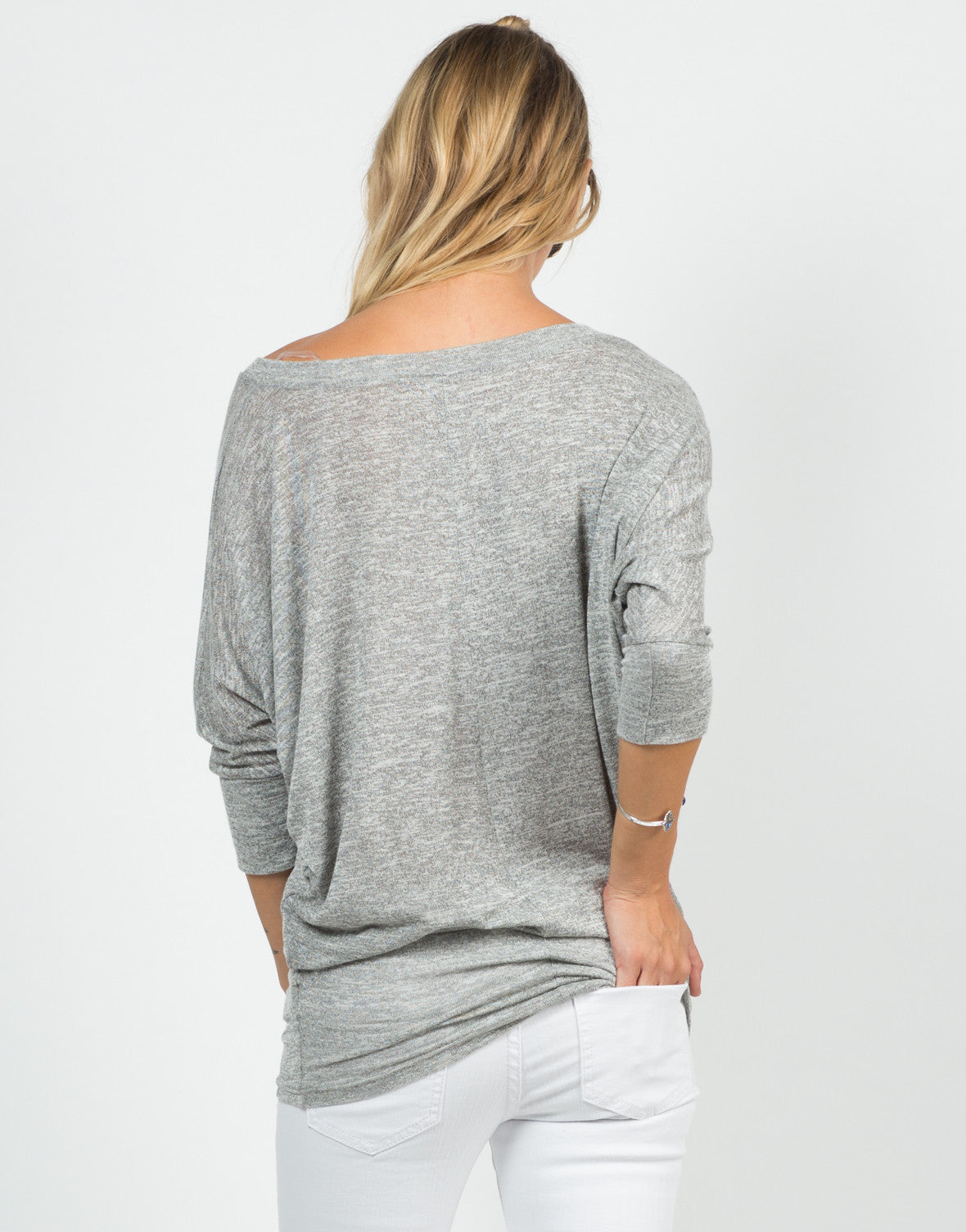 Back View of Soft 3/4 Dolman Sleeve Top