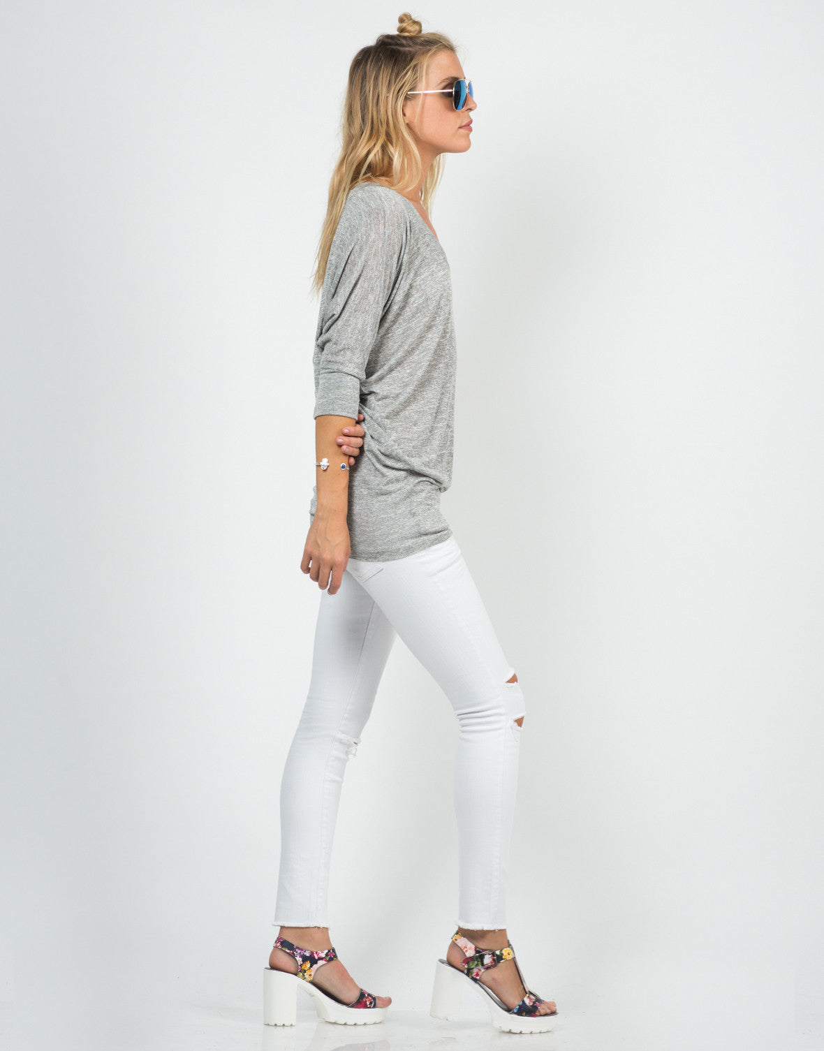Side View of Soft 3/4 Dolman Sleeve Top