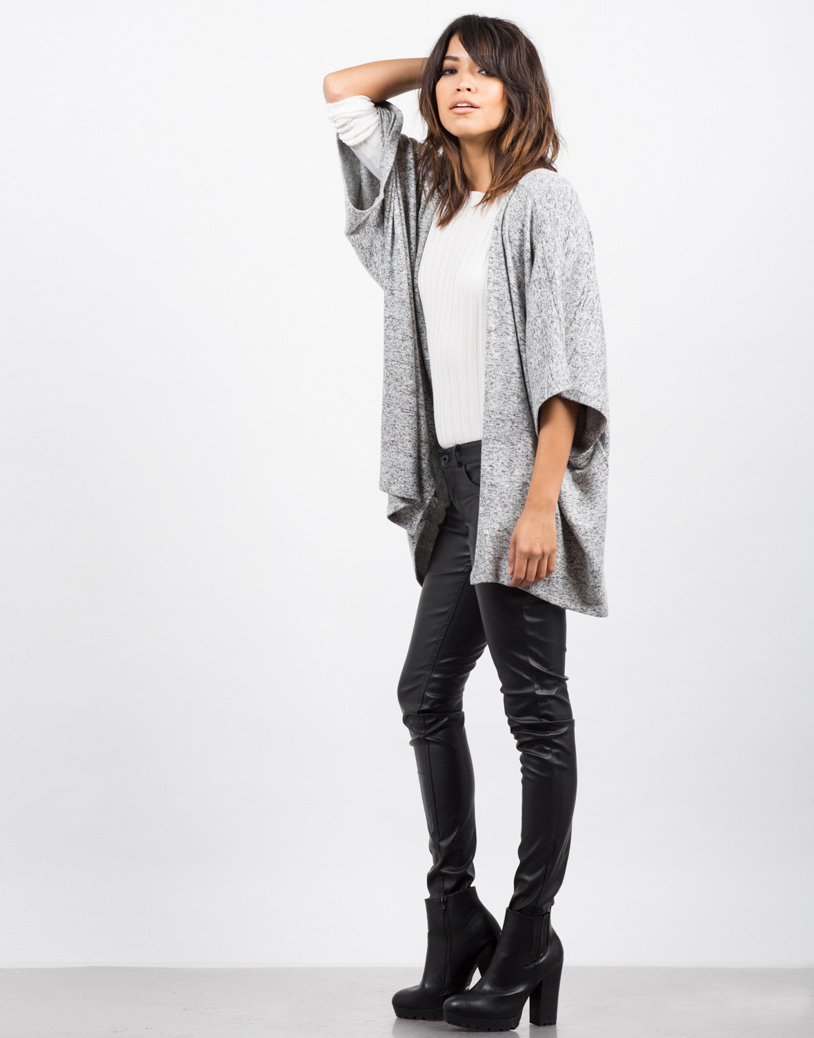 Side View of Soft Dolman Cardigan
