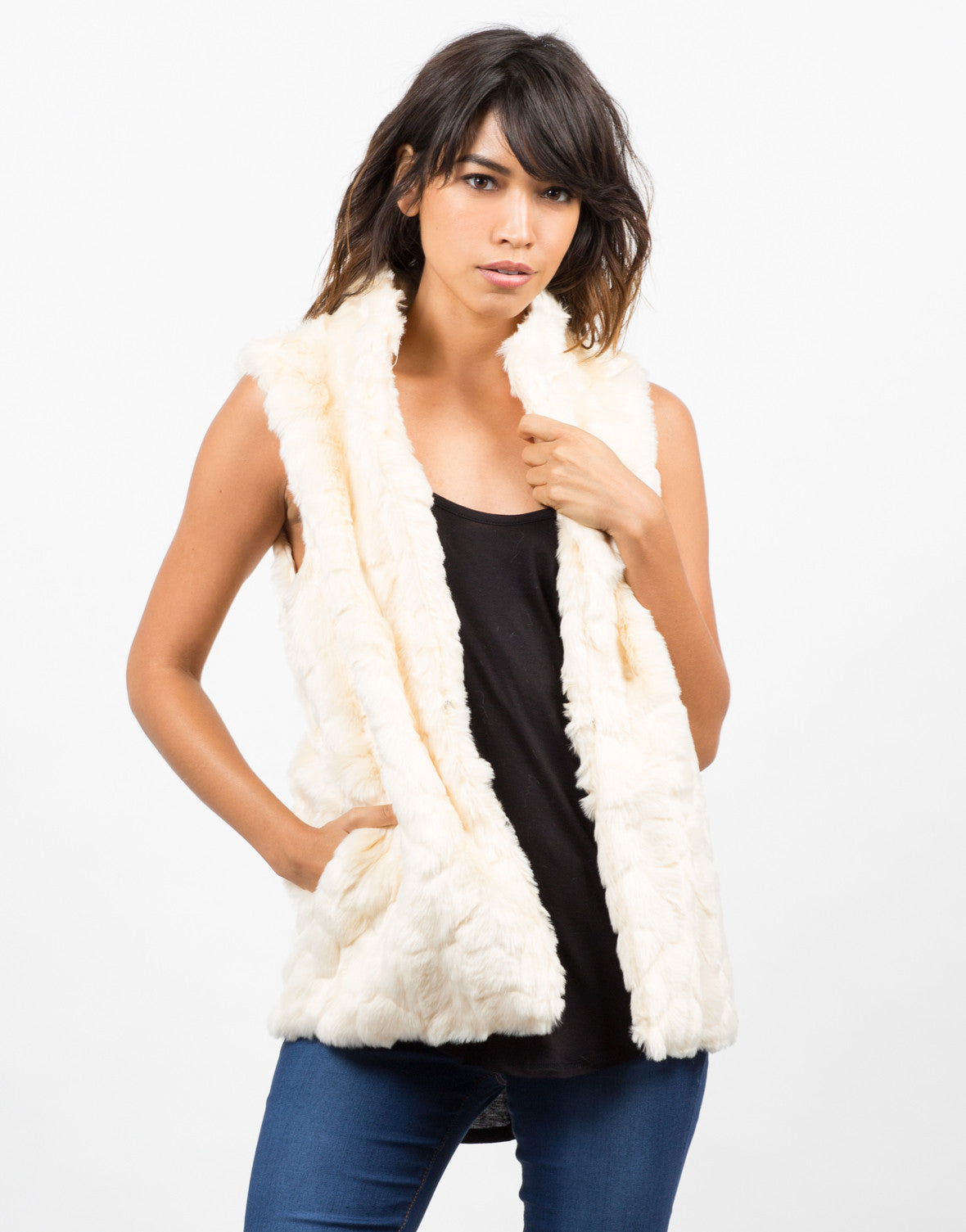 Front View of Soft Faux Fur Vest