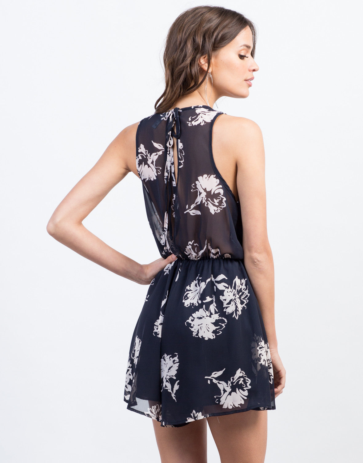 Back View of Back View of Soft Floral Chiffon Romper