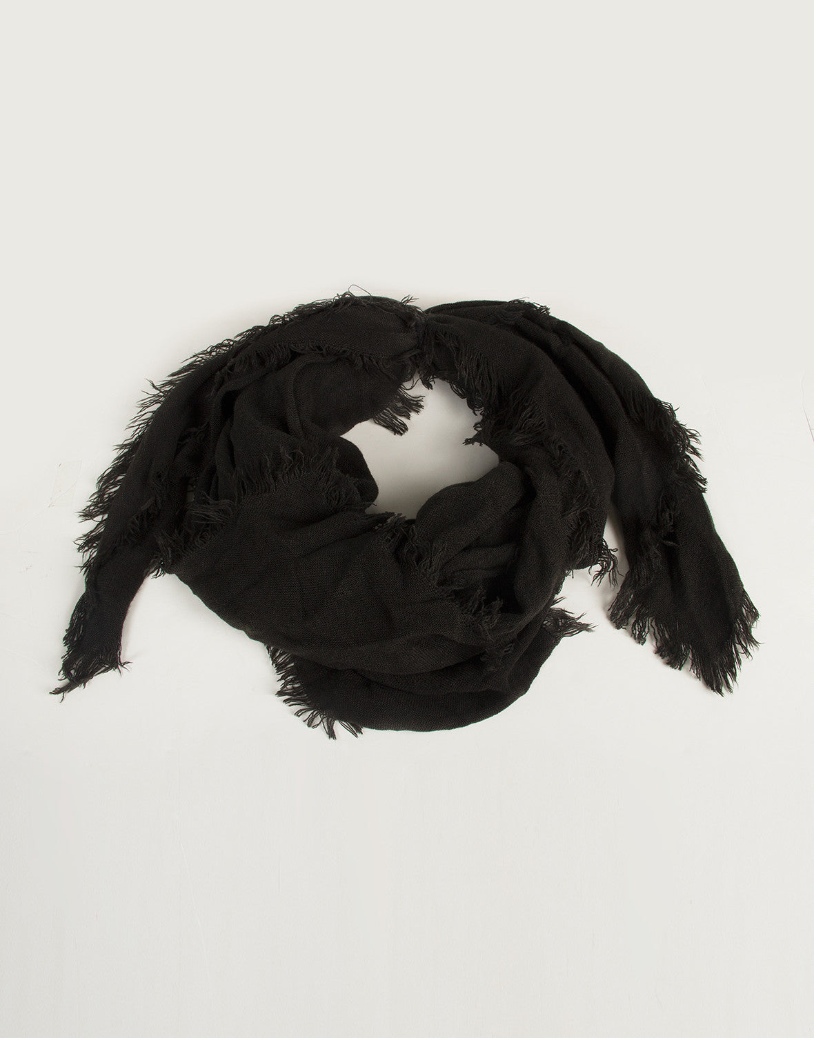 Soft Fringe Adjustable Scarf - Black