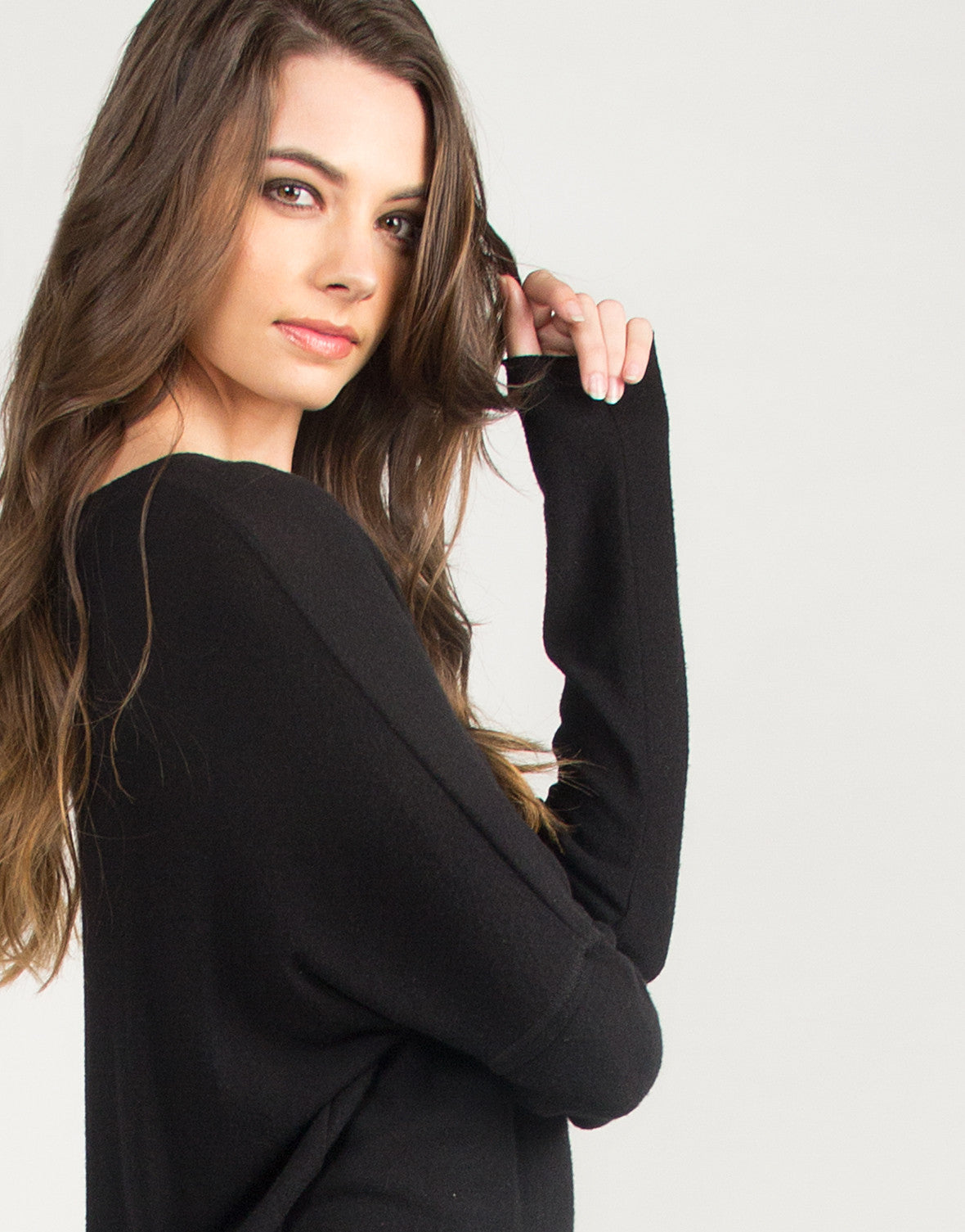 Soft Hi-Low Dolman Long Sleeve Top