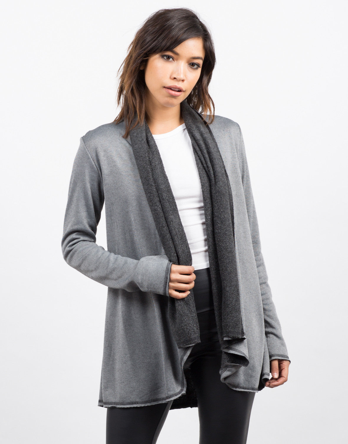 Front View of Soft Lined Cardigan