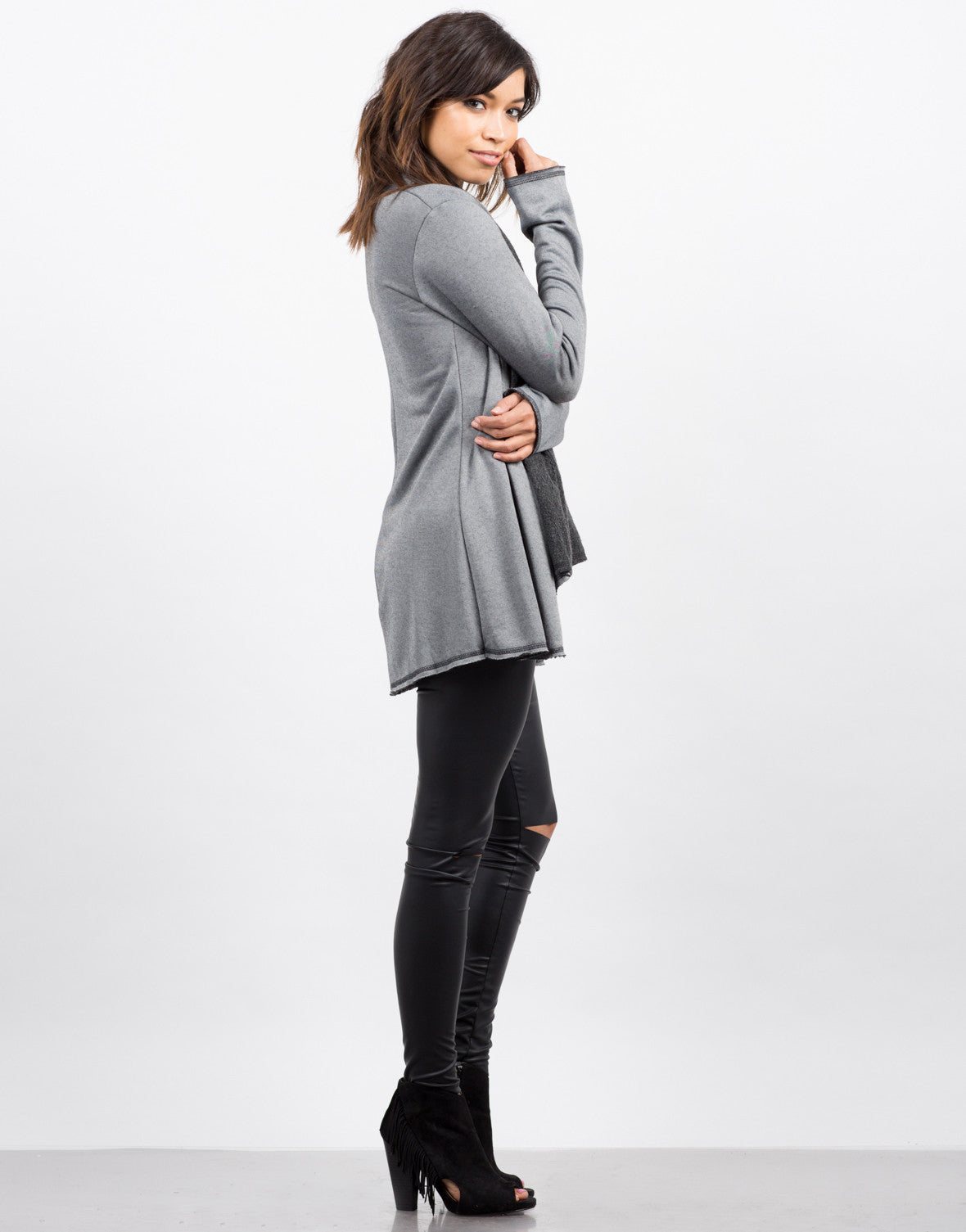 Side View of Soft Lined Cardigan