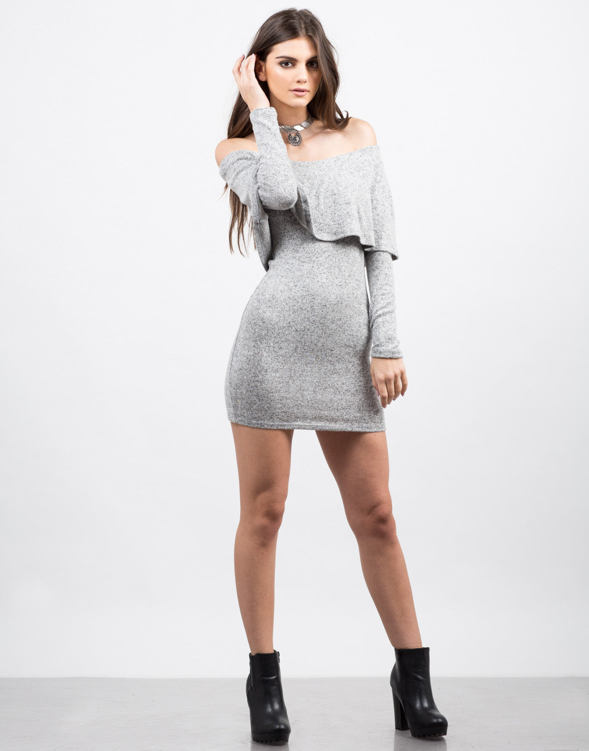 Front View of Soft Off the Shoulder Dress