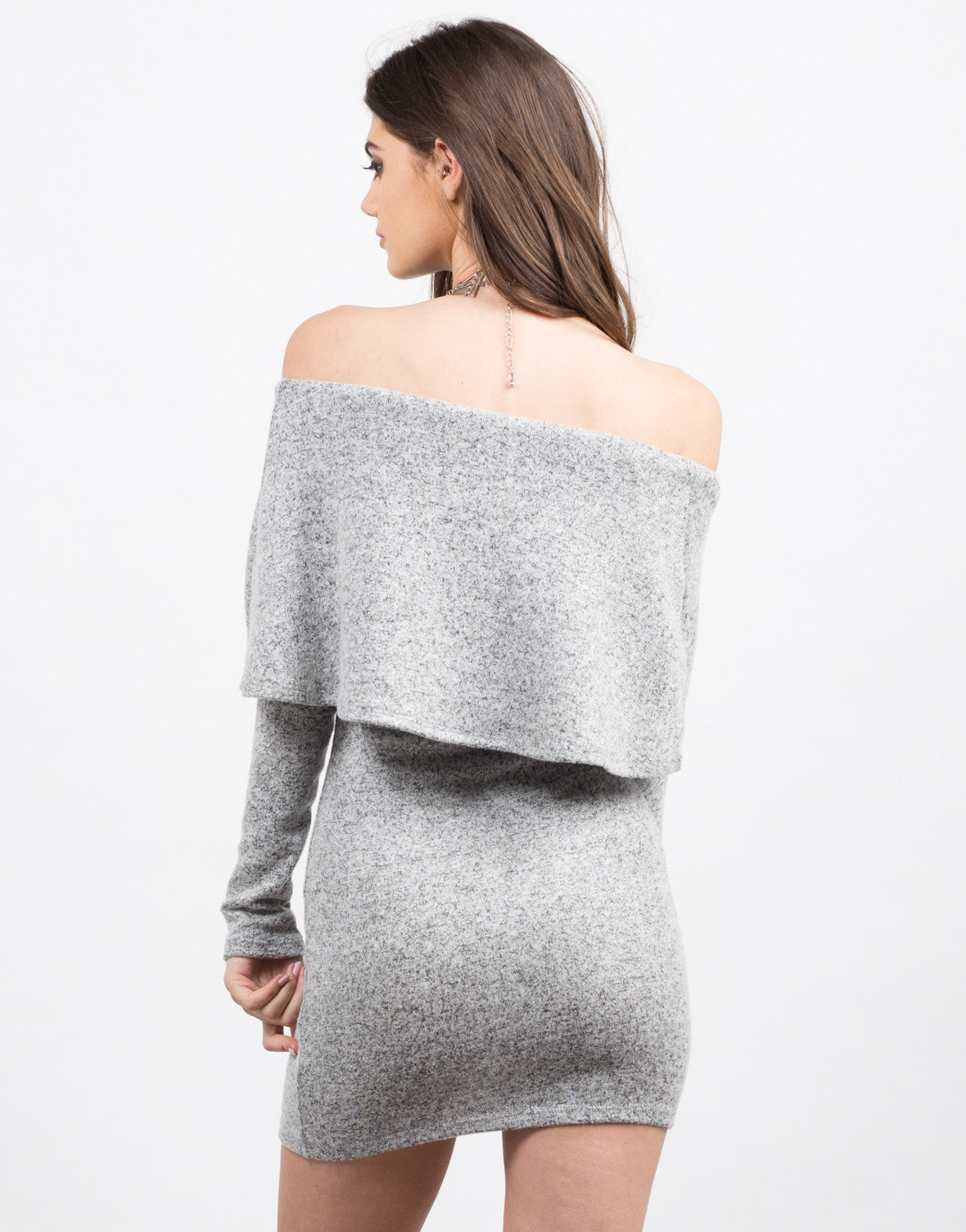 Back View of Soft Off the Shoulder Dress