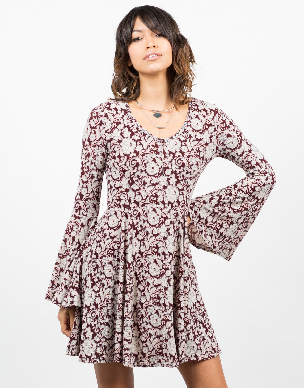 Front View of Soft Printed Flared Dress