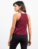 Back View of Soft Ribbed Swing Top