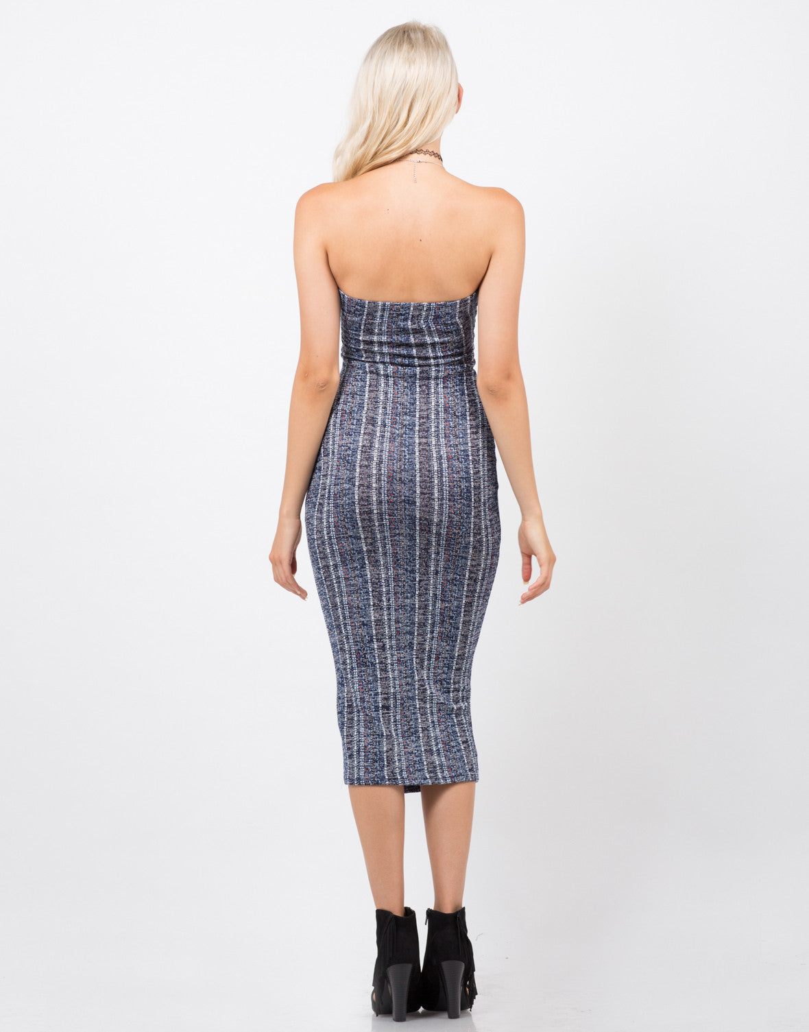 Back View of Soft Textured Strapless Dress