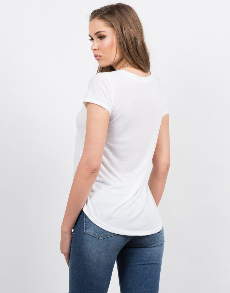 Back View of Soft V-Neck Tee