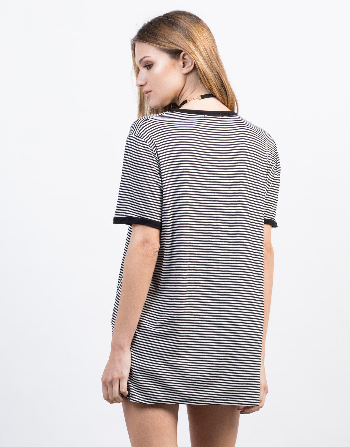 Back View of Solid Contrast Tunic Top