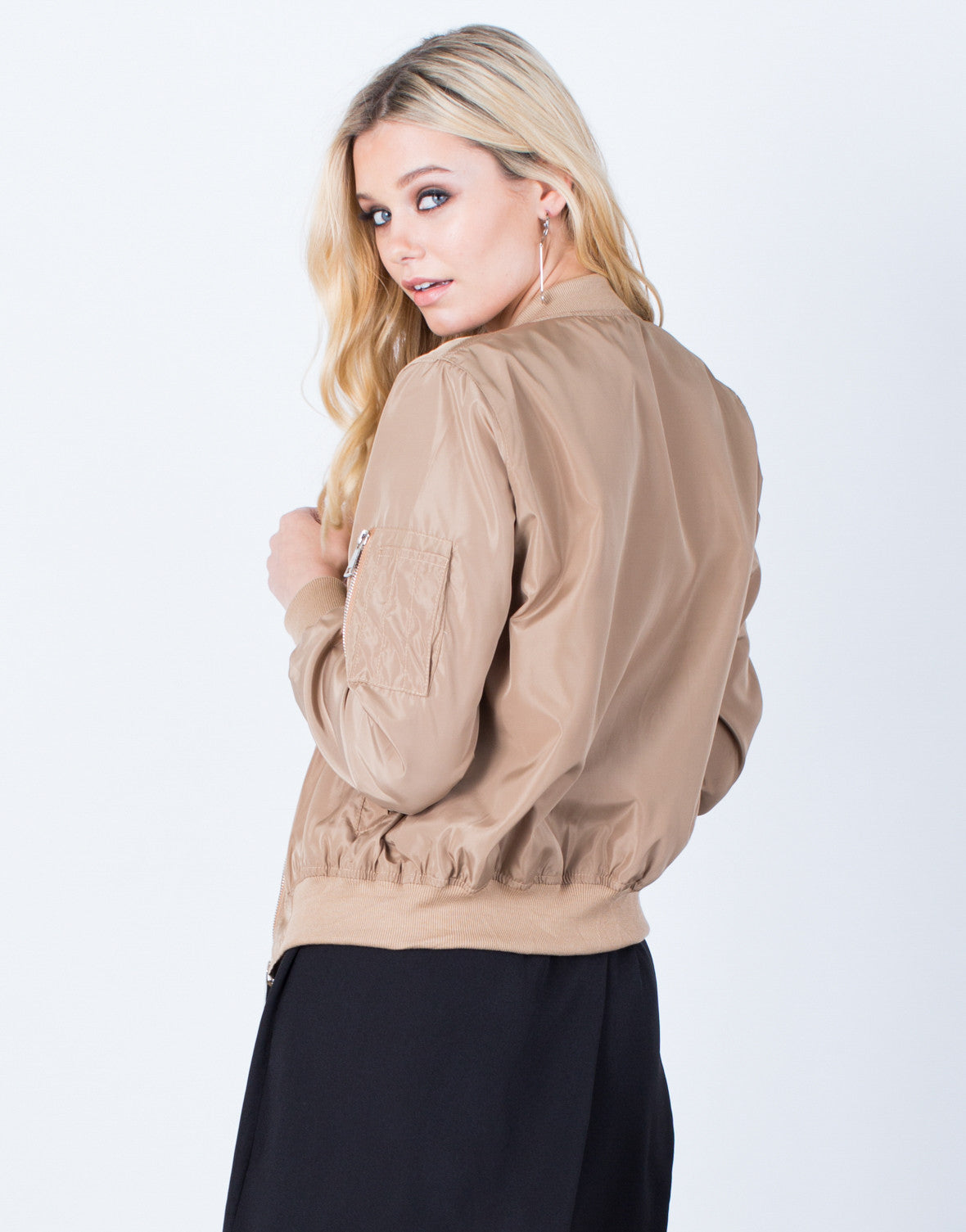 Back View of Solid Lightweight Bomber Jacket