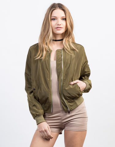 Front View of Solid Lightweight Bomber Jacket