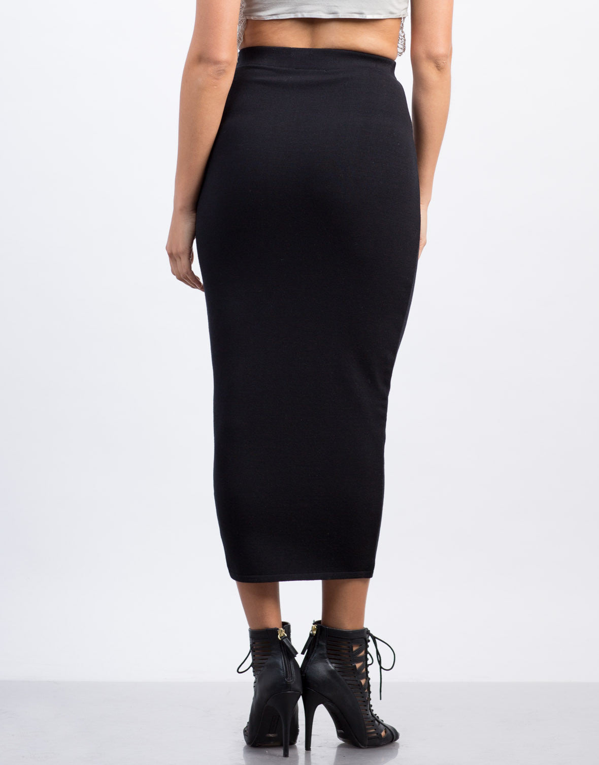 Back View of Solid Long Pencil Skirt