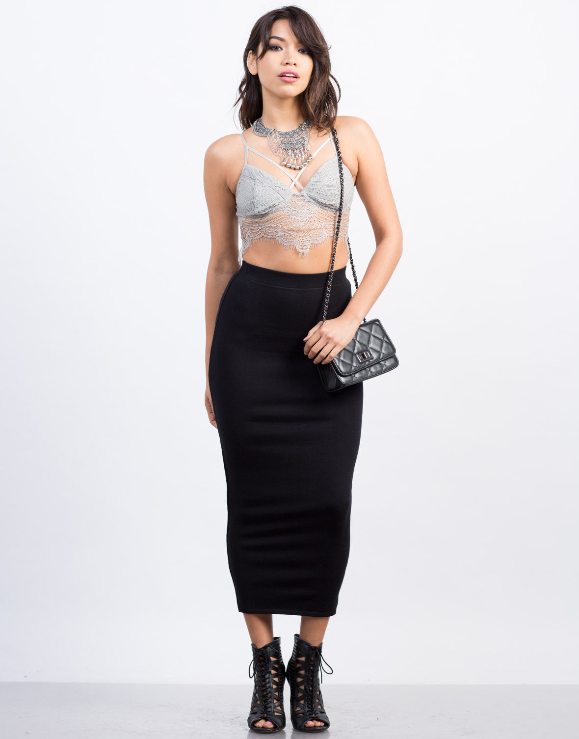 Front View of Solid Long Pencil Skirt