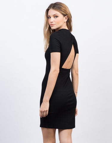 Back View of Solid Ribbed Tee Dress