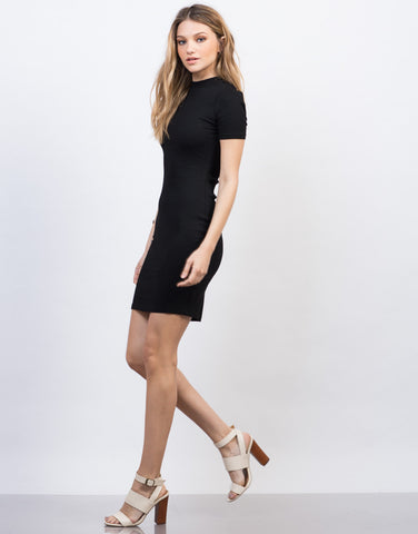 Side View of Solid Ribbed Tee Dress