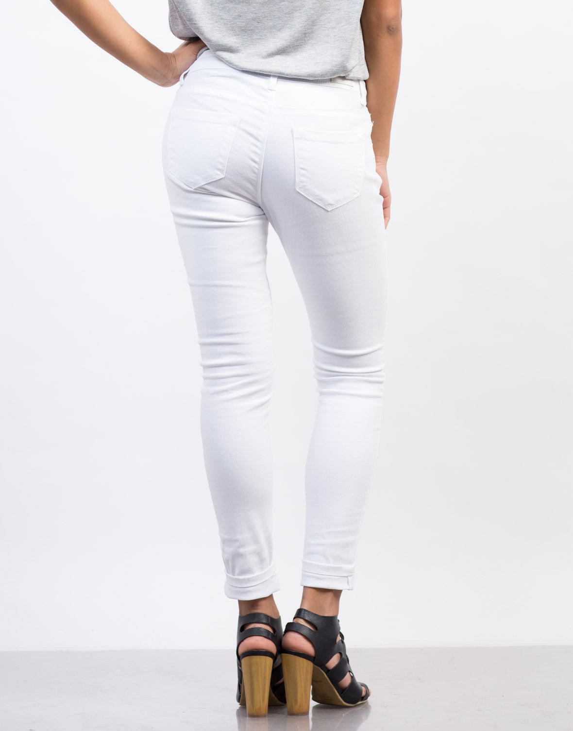 Back View of Solid Skinny Pants