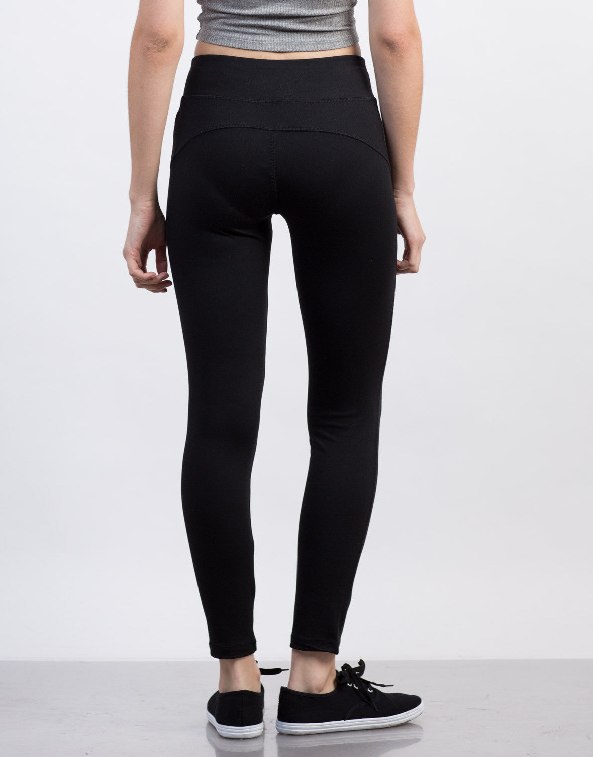 Back View of Solid Spandex Active Leggings