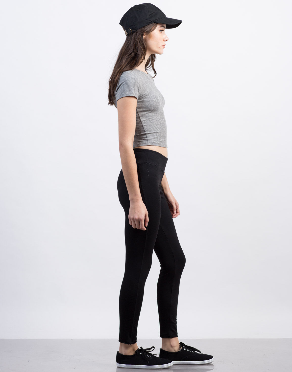 Side View of Solid Spandex Active Leggings