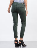 Back View of Solid Color Skinny Jeans